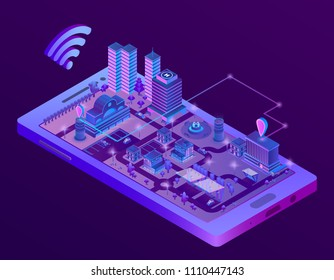 Vector 3d isometric smart city on smartphone screen, town map with navigation markers in ultra violet colors. Wireless internet technologies, mobile gps application and tracking concept illustration