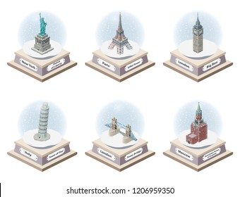 Vector 3d isometric snow globes with world famous landmarks inside. Collection of christmas illustrations isolated on white background