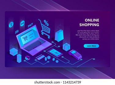 Vector 3d isometric template of e-commerce site, online store page with buton. Shopping service, payment by smartphone or laptop and delivery. Illustration in violet, ultraviolet colors.