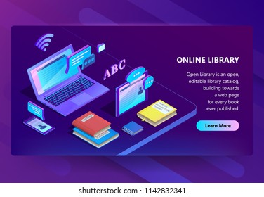 Vector 3d isometric template for site construction. Online library with violet laptop, books. Ultraviolet electronic documents, smartphone and tablet for e-learning. Portal with button and information