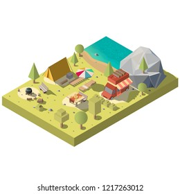 Vector 3d isometric territory for camping near the beach. Camp with tent, van and chaise-longue - picnic on nature, vacation concept. Forest landscape. Travel, tourism by car, encampment objects.