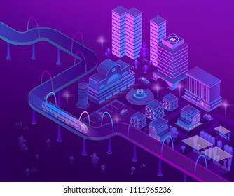 Vector 3d isometric train on road in megapolis with skyscrapers. City parking for cars in violet colors. Buildings with place for helicopter, bridge with ultraviolet lighting. Park in town.