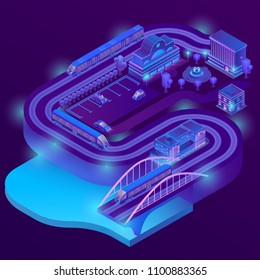 Vector 3d isometric train station of megapolis. City parking in violet colors for cars. Railway terminal with trains. Buildings, bridge with ultraviolet lighting. Streets with traffic, infrastructure