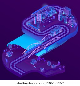 Vector 3d isometric train station of megapolis, railways to suburb, village. City parking in violet colors for cars. Terminal with trains. Buildings, bridge with ultraviolet lighting