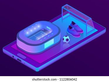 Vector 3d isometric ultraviolet smartphone with football stadium and equipment - boots, goal. Sport app on display of electronic device for betting, watching live. Digital technology in purple colors