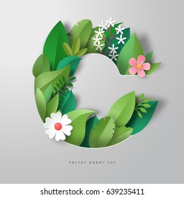 Vector 3d letter C. Pattern of paper leaves and flowers. Realistic shadows.