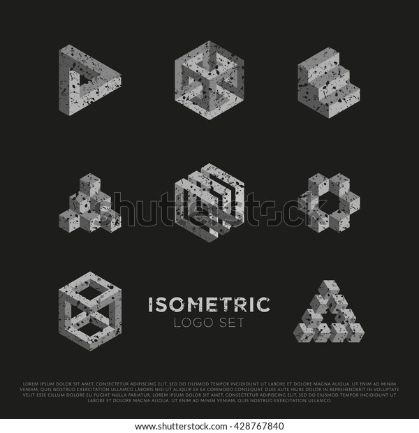 Vector 3d Logo Set with Grunge Texture. Isometric Signs.