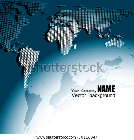 Square Earth Map.Vector 3 D Map Earth Square Style Stock Vector Royalty Free