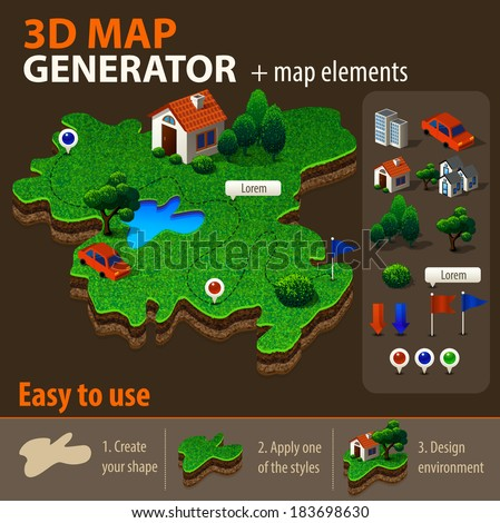 Vector 3 D Map Generator Stock-Vrgrafik (Lizenzfrei) 183698630 ... on