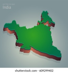 vector 3d map illustration of INDIA