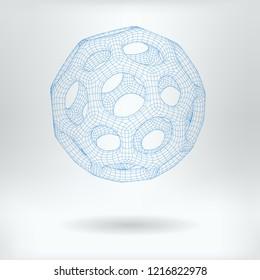 Vector 3D Mesh Hexagonal Buckminsterfullerene Carbon Concept Icon - Truncated Icosahedron Nanoparticles Scientific Fullerene Image