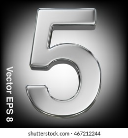 Vector 3d metal number collection - 5. Eps 8 using mesh.