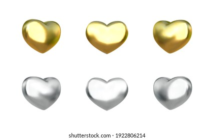 Vector 3d metallic heart. Realistic glossy silver and golden 3d hearts set.