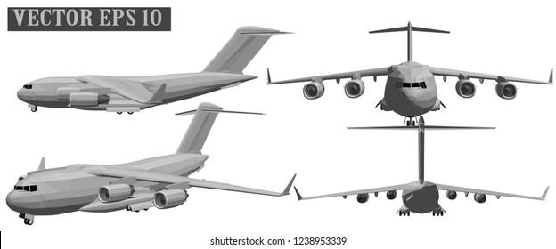 Vector 3D military aircraft warrior