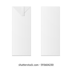 Vector 3d mock up of milk or juice box on white background. Realistic carton one liter package isolated. Template for your design. Front view.