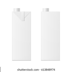 Vector 3d mock up of milk or juice box on white background. Realistic carton one liter package with cap isolated. Template for your design. Front view