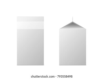 Vector 3d mock up of milk or juice box on white background. Realistic carton half liter package isolated. Template for your design. Front side view. 3d illustration