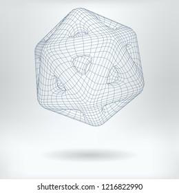 Vector 3D Model Quantum Mechanics Concept Icon - Lowpoly Icosidodecahedron Qubit Structure