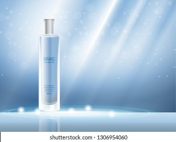 Vector 3D moisturizing cosmetic product, parfum for promotion of premium product. Colored spray in a milk glass bottle on a light blue background. Glare abstract vektor illustration. Modern brochure