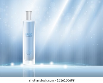 Vector 3D moisturizing cosmetic product, parfum for the promotion of premium product. Colored spray in a milk glass bottle on a light blue background. Glitter vektor illustration. Modern brochure