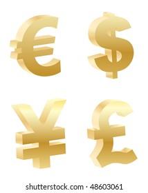 vector 3d money symbols