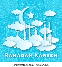 Vector 3D Muslim paper cut art. Ramadan Kareem holiday celebration greeting card background vector illustration. View of arabian city with mosque and moon made from paper. Islamic design. Eid Mubarak
