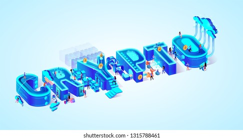 Vector 3d Neon Isometric Word Crypto on Light Blue Gradient Background. Little People Mining Cryptocurrency, Using Electronic Money and Futuristic Technology in Life for Shopping, Learning, Working.