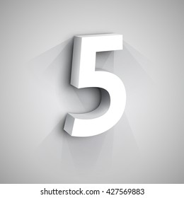 Vector 3d Number Five. White figure 5 on Gray Background