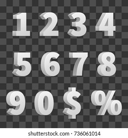 Vector 3d numbers isolated on transparent background. 3d number symbol, digit mathematics illustration