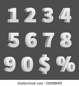 Vector 3D numbers and symbols. Three-dimensional numbers and finance signs, illustration of order numbers figure.