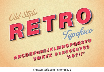 Vector 3d oblique retro font, alphabet 80s, 90s.
