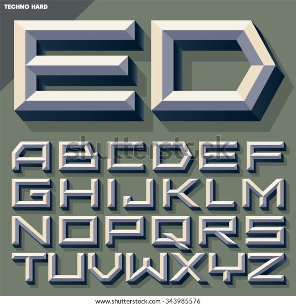 Vector 3d Old School Beveled Alphabet Stock Vector (Royalty