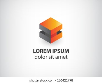 vector 3d orange and grey abstract cube logo isolated