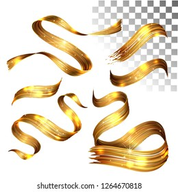Vector 3D Paint gold. Abstract Spiral Brush Stroke. Flowing Ribbon Shape. Digital Liquid Ink. Dynamic Artistic Wave. Isolated Background Design. Acrylic Splash Ribbon. Calligraphic Brushstroke Loop.