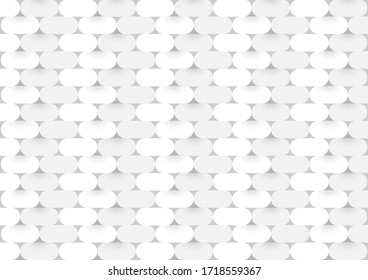 Vector 3d paper capsule grey cover modern.White brick wall is texture for use wallpaper. Abstract pattern Rounded square background.
