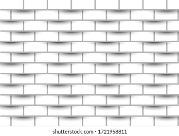 Vector 3d paper grey cover modern.White brick wall is texture for use wallpaper. Abstract pattern stonewall background.