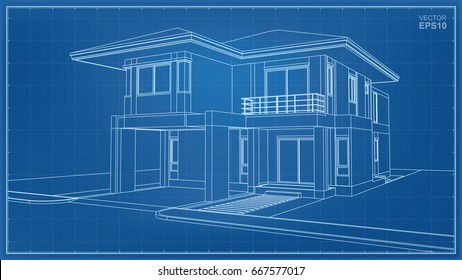 Vector 3D perspective wireframe of house exterior.
