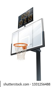 Vector 3d Photorealistic Basketball Backboard, Hoop And Scoreboard Illustration Isolated On White. Perspective View