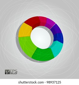Vector 3D pie chart on grey background
