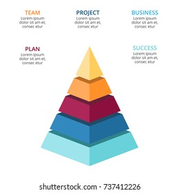 Vector 3d pyramid infographic, growth diagram chart, layered performance graph presentation. Business progress infographics concept with 5 options, parts, steps, processes.