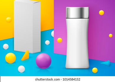 Vector 3d realistic abstract scene with shampoo bottle and paper box.  Bright blue, violet and yellow background with geometric shapes.