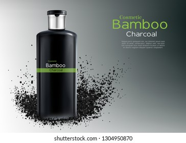 Vector 3d realistic ad poster with charcoal cosmetics - shampoo or cream with natural bamboo. Deep cleansing cosmetic for men. Moisturizer, wrapping, branded container. Haircare, hygiene product.