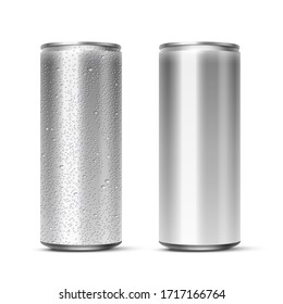 Vector 3D realistic aluminum cans with and without water drops isolated on white background. Empty mockup for beer, alcohol, soda, energy drink. Advertising and presentation design element