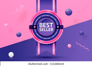 Vector 3d realistic best seller sticker on abstract scene with text, violet, pink and white balls and objects.