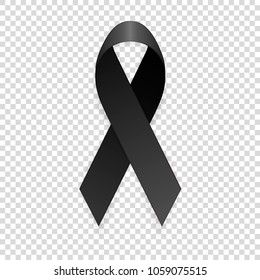 Vector 3d realistic black awareness ribbon icon closeup isolated on transparency grid background. Mourning, melanoma and death symbol. Design template, clipart for graphics