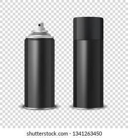 Vector 3d Realistic Black Blank Spray Can, Spray Bottle with Cap Closeup Isolated on Transparent Background. Design Template of Sprayer Can for Mock up, Package, Advertising, Hairspray, Deodorant etc