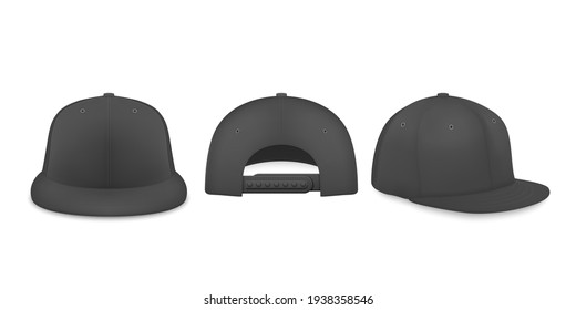 Vector 3d Realistic Black Blank Baseball Cap, Snapback Cap Icon Set Closeup Isolated on White Background. Design Template, Mock-up for Branding, Advertise. Front, Back, Side View