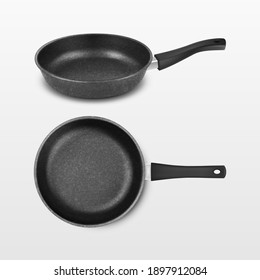 Vector 3d Realistic Black Empty Frying Pan Icon Set Isolated on White Background. Design Template for Mockup. Top and Front or Side View