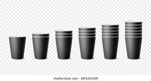 Vector 3d Realistic Black Paper Glossy Disposable Cup Set, Stack of Cup for Beverage, Drinks Isolated. Coffee, Soda, Tea, Cocktail, Milkshake. Design Template of Packaging for Mockup. Front View
