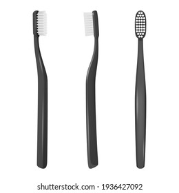 Vector 3d Realistic Black Plastic Blank Toothbrush Icon Set Isolated on White Background. Design Template, Mockup. Dentistry, Healthcare, Hygiene Concept. Tooth Brush in Front, Top, Side View